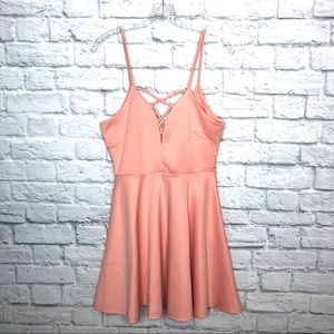 Papaya Peach Lattice Skater Dress